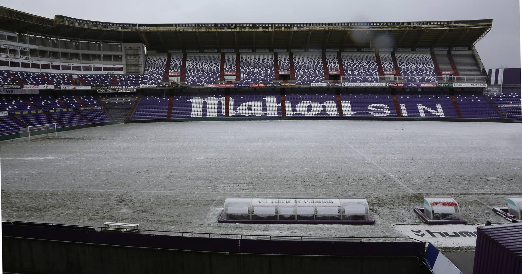 El césped del estadio Zorrilla con nieve