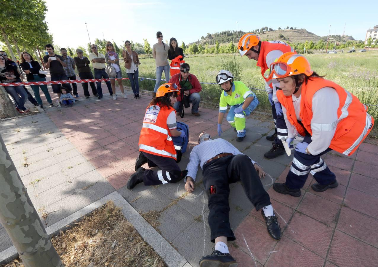 Simulacro con policía, ambulancias y bomberos en Villa de Prado