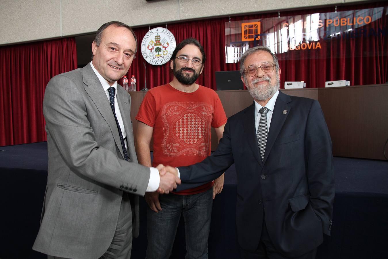 Los candidatos al Rectorado de la UVA, Marcos Sacristán y Daniel Miguel participan en un debate en el campus María Zambrano de Segovia